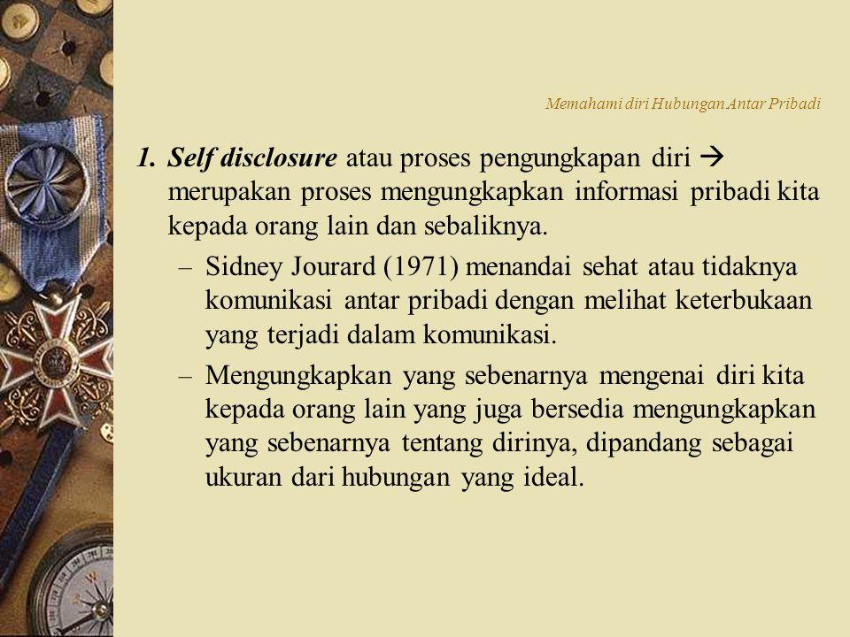 1.Self disclosure atau proses pengungkapan diri  merupakan proses mengungkapkan informasi pribadi kita kepada orang lain dan sebaliknya. – Sidney Jou