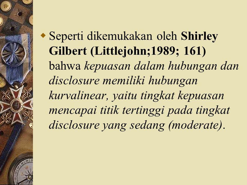  Seperti dikemukakan oleh Shirley Gilbert (Littlejohn;1989; 161) bahwa kepuasan dalam hubungan dan disclosure memiliki hubungan kurvalinear, yaitu ti