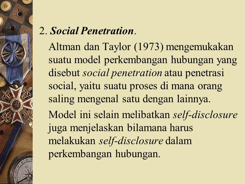 2. Social Penetration. Altman dan Taylor (1973) mengemukakan suatu model perkembangan hubungan yang disebut social penetration atau penetrasi social,