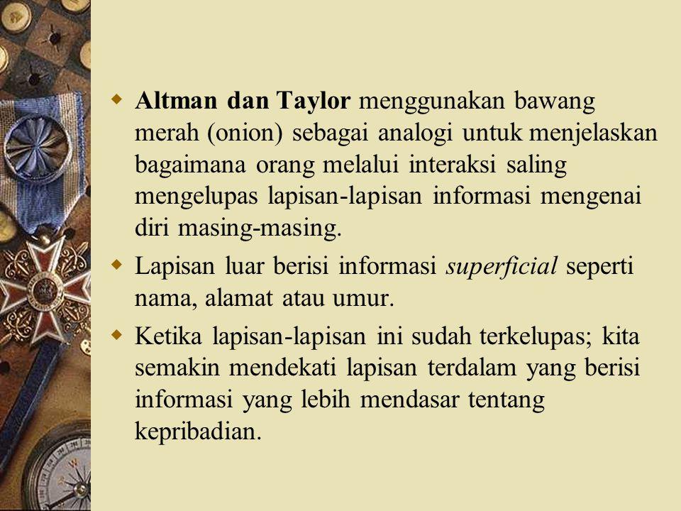  Altman dan Taylor menggunakan bawang merah (onion) sebagai analogi untuk menjelaskan bagaimana orang melalui interaksi saling mengelupas lapisan-lap