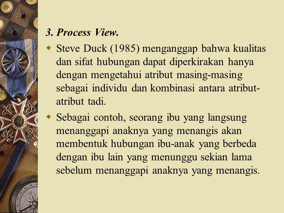3. Process View.  Steve Duck (1985) menganggap bahwa kualitas dan sifat hubungan dapat diperkirakan hanya dengan mengetahui atribut masing-masing seb