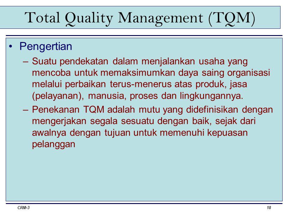 CRM-319 Total Quality Management (TQM) Peran Pemasaran dalam TQM –Manajemen pemasaran harus berpartisipasi dalam merumuskan strategi dan kebijakan yang dirancang untuk membantu keberhasilan perusahaan lewat keunggulan mutu terpadu.