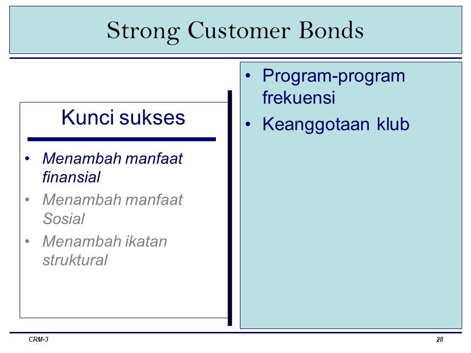 CRM-329 Strong Customer Bonds Kunci sukses Menambah manfaat finansial Menambah manfaat sosial Menambah ikatan struktural Menjadikan hubungan dengan pelanggan bersifat Personal