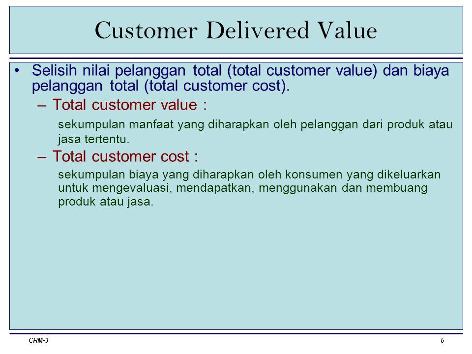 CRM-36 Customer Delivered Value (definisi operasional) Total customer value –Produk: keandalan, daya tahan, kinerja, nilai jual kembali –Pelayanan: penyerahan barang, pelatihan, perawatan dll.