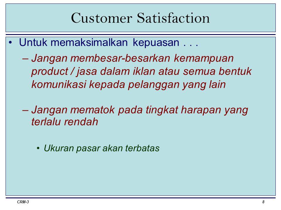 CRM-39 Menarik & Mempertahankan Pelanggan Menarik Pelanggan –Pemerolehan pelanggan menuntut keterampilan yang cukup dalam pengumpulan petunjuk, pengkualisifikasian petunjuk, dan pengkoversian pelanggan.