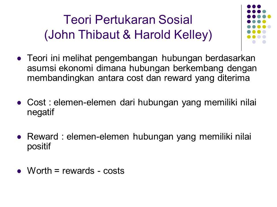 Teori Pertukaran Sosial (John Thibaut & Harold Kelley) Teori ini melihat pengembangan hubungan berdasarkan asumsi ekonomi dimana hubungan berkembang d