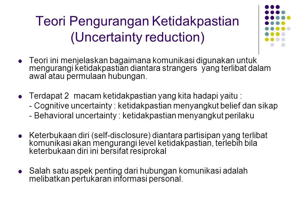 Teori Pengurangan Ketidakpastian (Uncertainty reduction) Teori ini menjelaskan bagaimana komunikasi digunakan untuk mengurangi ketidakpastian diantara