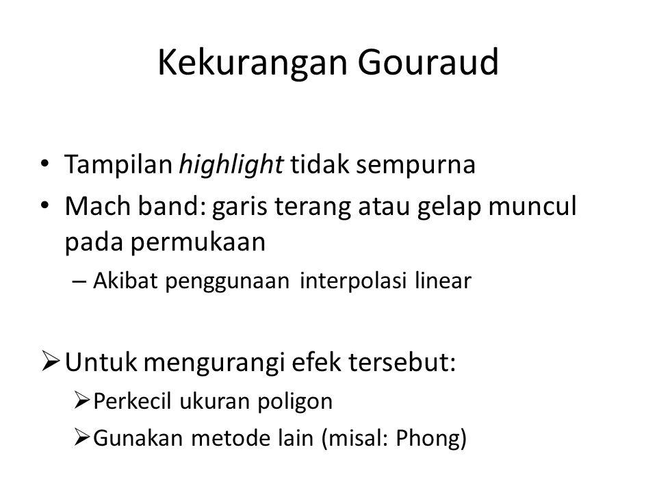 Kekurangan Gouraud Tampilan highlight tidak sempurna Mach band: garis terang atau gelap muncul pada permukaan – Akibat penggunaan interpolasi linear  Untuk mengurangi efek tersebut:  Perkecil ukuran poligon  Gunakan metode lain (misal: Phong)