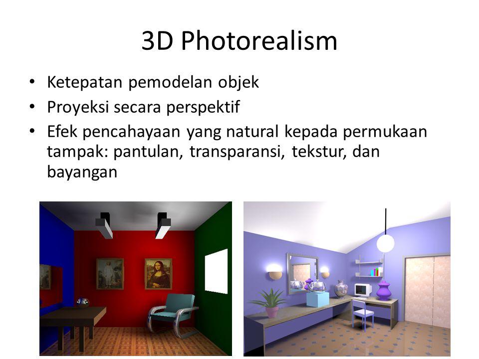 3D Photorealism Ketepatan pemodelan objek Proyeksi secara perspektif Efek pencahayaan yang natural kepada permukaan tampak: pantulan, transparansi, tekstur, dan bayangan