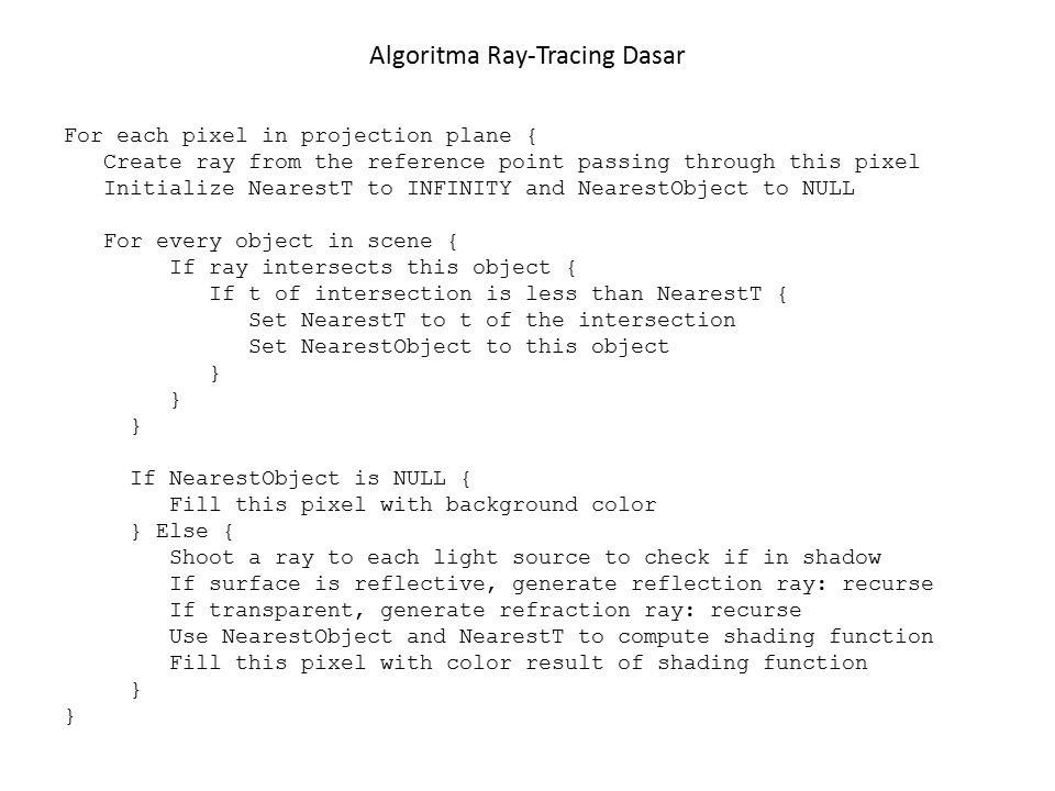 Algoritma Ray-Tracing Dasar For each pixel in projection plane { Create ray from the reference point passing through this pixel Initialize NearestT to