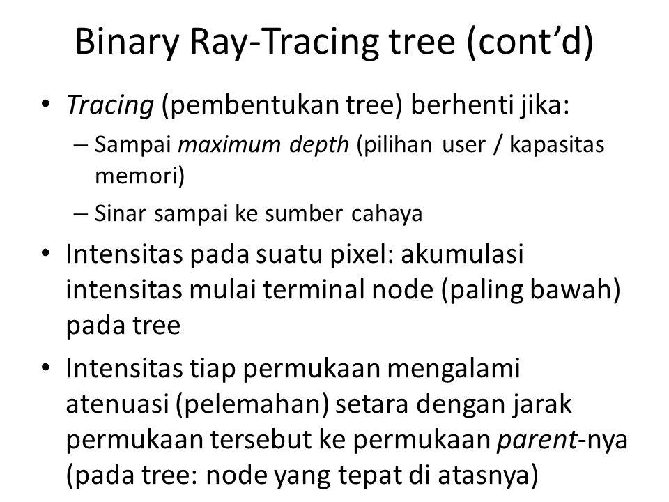 Binary Ray-Tracing tree (cont'd) Tracing (pembentukan tree) berhenti jika: – Sampai maximum depth (pilihan user / kapasitas memori) – Sinar sampai ke sumber cahaya Intensitas pada suatu pixel: akumulasi intensitas mulai terminal node (paling bawah) pada tree Intensitas tiap permukaan mengalami atenuasi (pelemahan) setara dengan jarak permukaan tersebut ke permukaan parent-nya (pada tree: node yang tepat di atasnya)