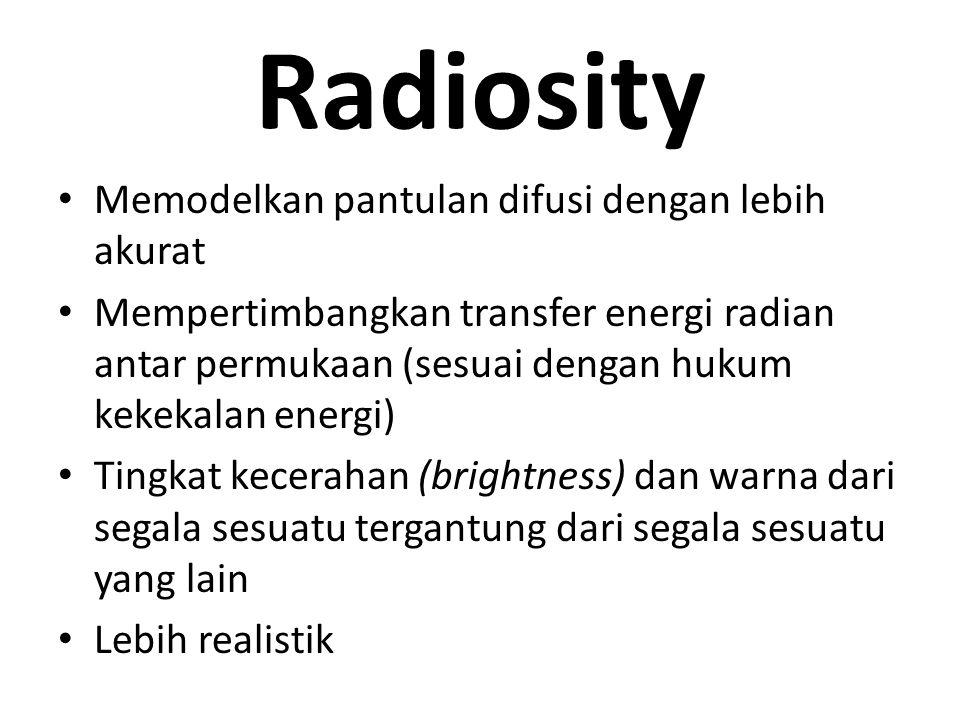 Radiosity Memodelkan pantulan difusi dengan lebih akurat Mempertimbangkan transfer energi radian antar permukaan (sesuai dengan hukum kekekalan energi) Tingkat kecerahan (brightness) dan warna dari segala sesuatu tergantung dari segala sesuatu yang lain Lebih realistik