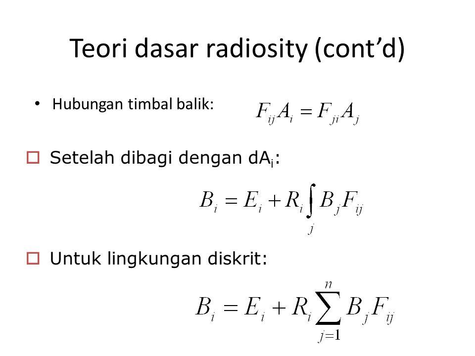 Teori dasar radiosity (cont'd) Hubungan timbal balik:  Setelah dibagi dengan dA i :  Untuk lingkungan diskrit: