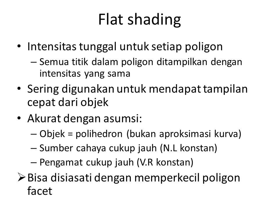 Flat shading Intensitas tunggal untuk setiap poligon – Semua titik dalam poligon ditampilkan dengan intensitas yang sama Sering digunakan untuk mendapat tampilan cepat dari objek Akurat dengan asumsi: – Objek = polihedron (bukan aproksimasi kurva) – Sumber cahaya cukup jauh (N.L konstan) – Pengamat cukup jauh (V.R konstan)  Bisa disiasati dengan memperkecil poligon facet
