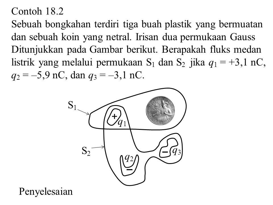 Contoh 18.2 Sebuah bongkahan terdiri tiga buah plastik yang bermuatan dan sebuah koin yang netral. Irisan dua permukaan Gauss Ditunjukkan pada Gambar