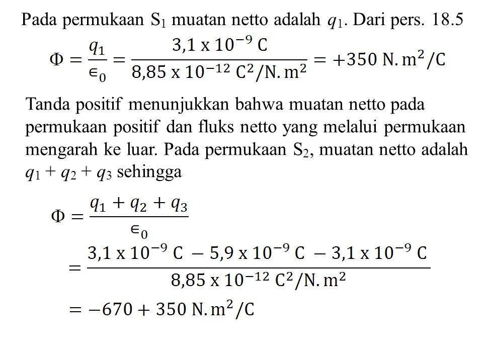 Pada permukaan S 1 muatan netto adalah q 1. Dari pers. 18.5 Tanda positif menunjukkan bahwa muatan netto pada permukaan positif dan fluks netto yang m