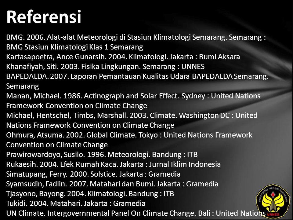 Referensi BMG. 2006. Alat-alat Meteorologi di Stasiun Klimatologi Semarang.