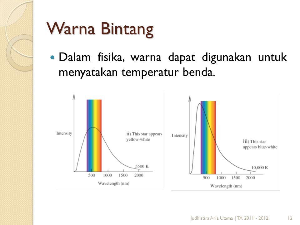 12 Warna Bintang Dalam fisika, warna dapat digunakan untuk menyatakan temperatur benda. Judhistira Aria Utama | TA 2011 - 2012