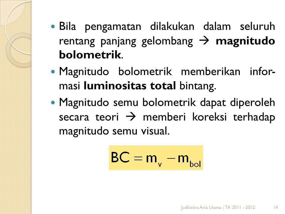 14 Bila pengamatan dilakukan dalam seluruh rentang panjang gelombang  magnitudo bolometrik. Magnitudo bolometrik memberikan infor- masi luminositas t