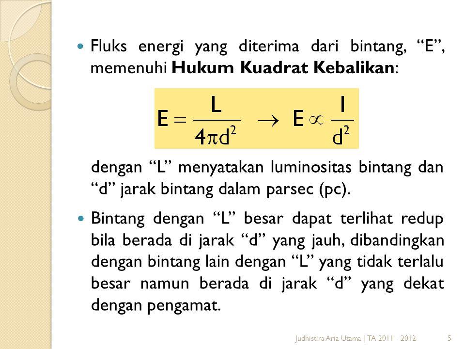 "5 Fluks energi yang diterima dari bintang, ""E"", memenuhi Hukum Kuadrat Kebalikan: Judhistira Aria Utama | TA 2011 - 2012 dengan ""L"" menyatakan luminos"