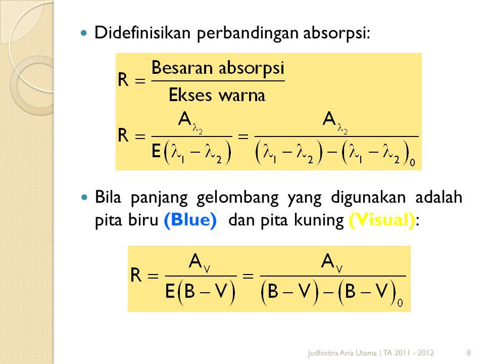 8 Didefinisikan perbandingan absorpsi: Judhistira Aria Utama | TA 2011 - 2012 Bila panjang gelombang yang digunakan adalah pita biru (Blue) dan pita k