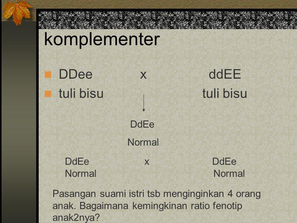 komplementer DDee x ddEE tuli bisu tuli bisu DdEe Normal DdEe x DdEeNormal Pasangan suami istri tsb menginginkan 4 orang anak. Bagaimana kemingkinan r