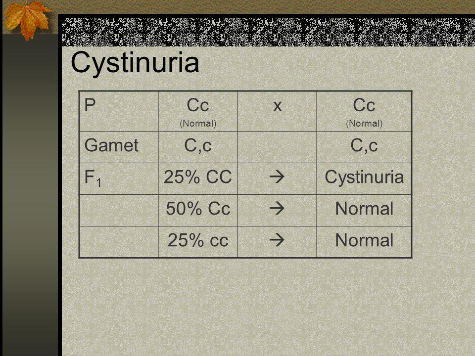 Cystinuria PCc (Normal) xCc (Normal) GametC,c F1F1 25% CC  Cystinuria 50% Cc  Normal 25% cc  Normal