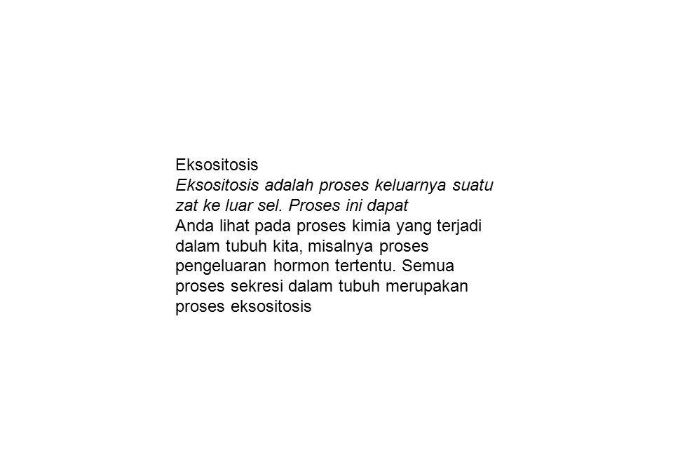 Eksositosis Eksositosis adalah proses keluarnya suatu zat ke luar sel. Proses ini dapat Anda lihat pada proses kimia yang terjadi dalam tubuh kita, mi
