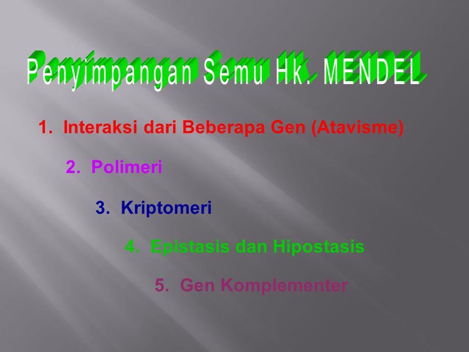 1. Interaksi dari Beberapa Gen (Atavisme) 2. Polimeri 3. Kriptomeri 4. Epistasis dan Hipostasis 5. Gen Komplementer