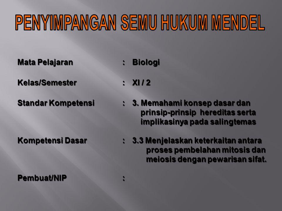 Mata Pelajaran :BiologiKelas/Semester: XI / 2 Standar Kompetensi : 3.