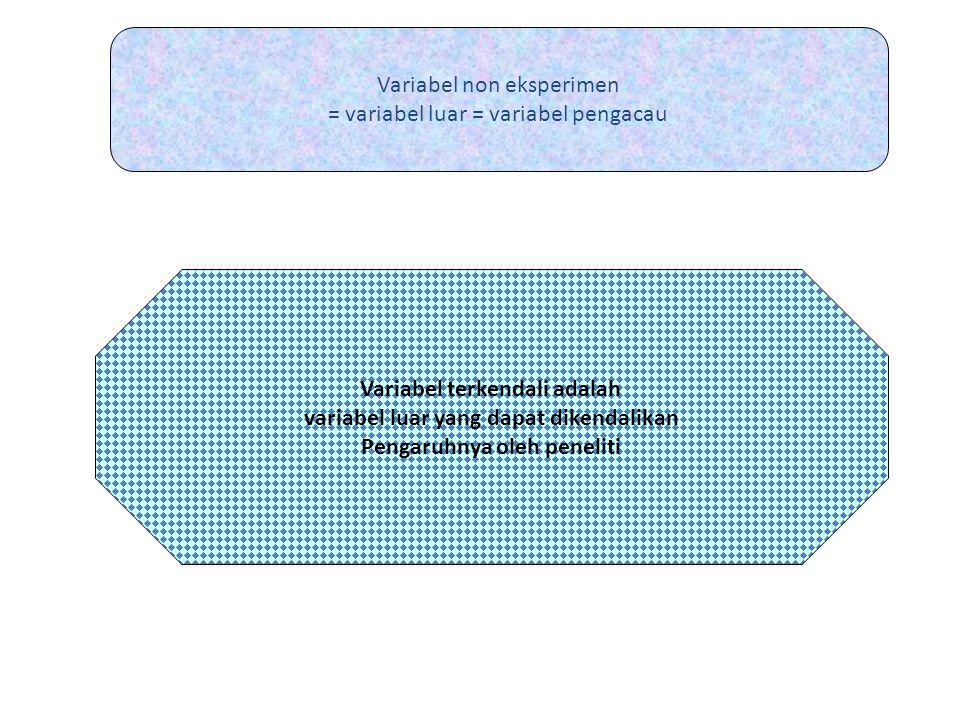 Variabel non eksperimen = variabel luar = variabel pengacau Variabel terkendali adalah variabel luar yang dapat dikendalikan Pengaruhnya oleh peneliti