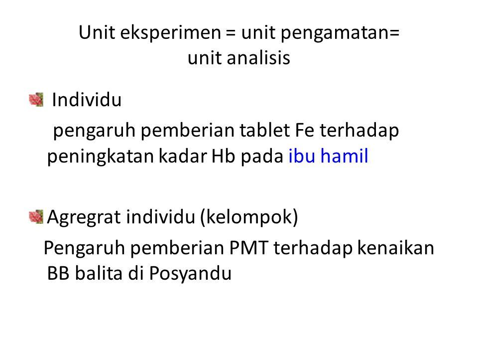 Unit eksperimen = unit pengamatan= unit analisis Individu pengaruh pemberian tablet Fe terhadap peningkatan kadar Hb pada ibu hamil Agregrat individu (kelompok) Pengaruh pemberian PMT terhadap kenaikan BB balita di Posyandu