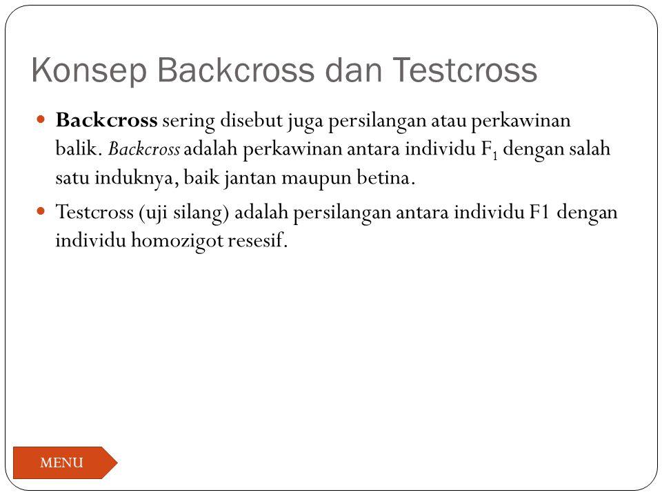 Konsep Backcross dan Testcross Backcross sering disebut juga persilangan atau perkawinan balik. Backcross adalah perkawinan antara individu F 1 dengan