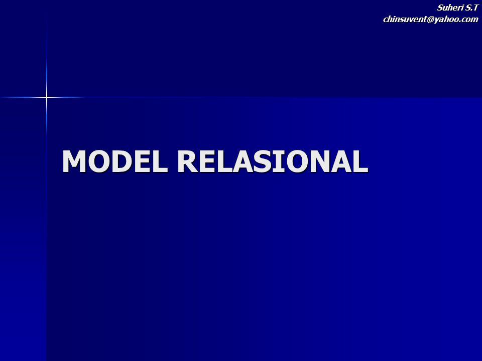 Model Relasional Model Relasional merupakan kumpulan tabel berdimensi dua (disebut relasi atau tabel) dengan masing-masing relasi (relations) tersusun atas tuple (baris) dan atribut (kolom) pada suatu basis data.