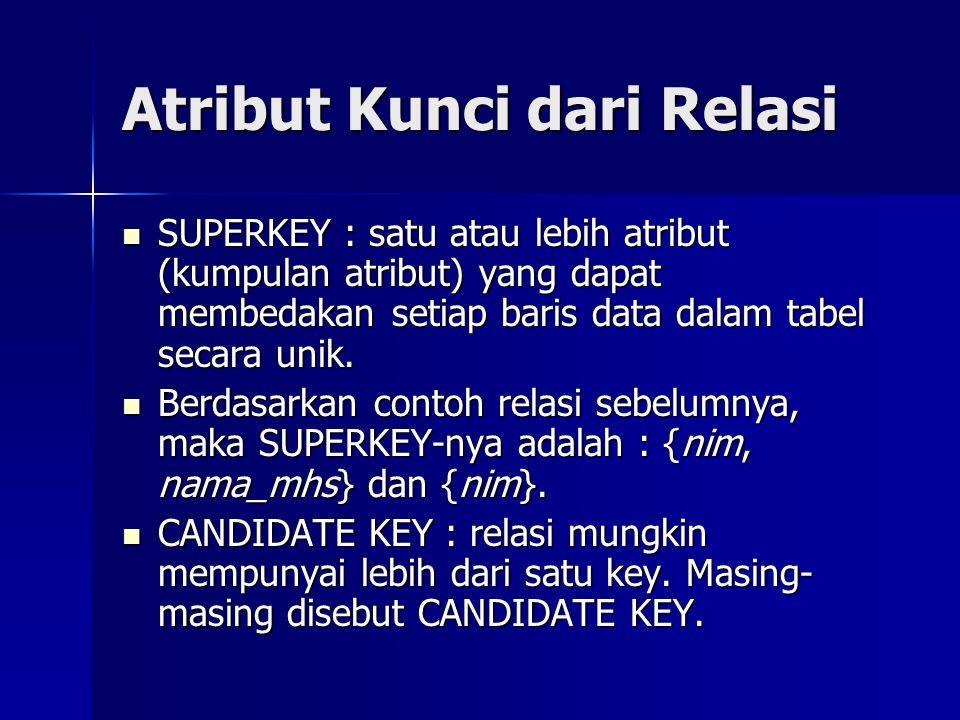 Atribut Kunci dari Relasi SUPERKEY : satu atau lebih atribut (kumpulan atribut) yang dapat membedakan setiap baris data dalam tabel secara unik. SUPER