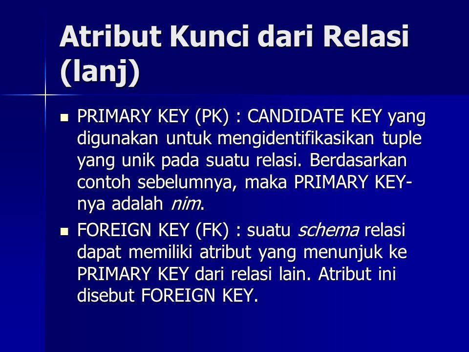 Atribut Kunci dari Relasi (lanj) PRIMARY KEY (PK) : CANDIDATE KEY yang digunakan untuk mengidentifikasikan tuple yang unik pada suatu relasi. Berdasar