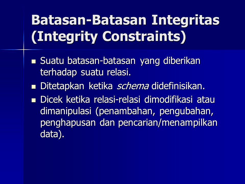 Batasan-Batasan Integritas (Integrity Constraints) Suatu batasan-batasan yang diberikan terhadap suatu relasi. Suatu batasan-batasan yang diberikan te
