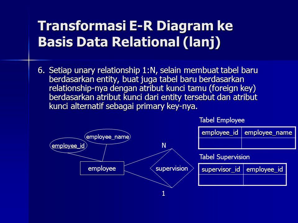 6.Setiap unary relationship 1:N, selain membuat tabel baru berdasarkan entity, buat juga tabel baru berdasarkan relationship-nya dengan atribut kunci tamu (foreign key) berdasarkan atribut kunci dari entity tersebut dan atribut kunci alternatif sebagai primary key-nya.