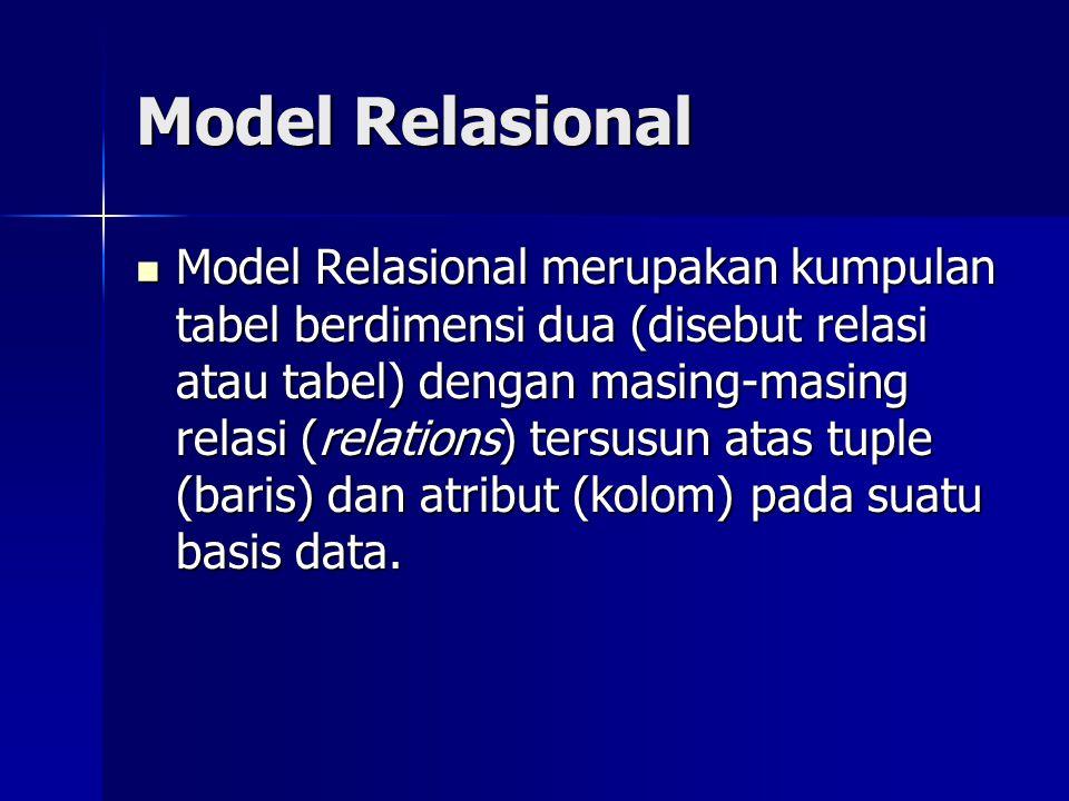 Model Relasional Model Relasional merupakan kumpulan tabel berdimensi dua (disebut relasi atau tabel) dengan masing-masing relasi (relations) tersusun