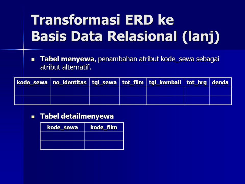 Transformasi ERD ke Basis Data Relasional (lanj) Tabel menyewa, penambahan atribut kode_sewa sebagai atribut alternatif. Tabel menyewa, penambahan atr