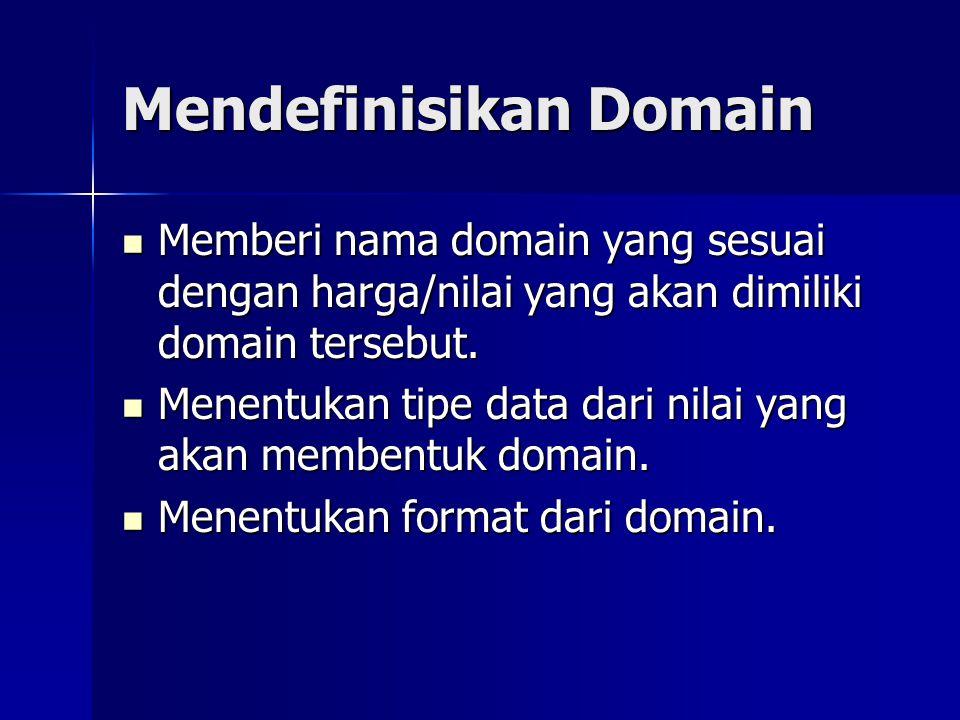 Mendefinisikan Domain Memberi nama domain yang sesuai dengan harga/nilai yang akan dimiliki domain tersebut. Memberi nama domain yang sesuai dengan ha