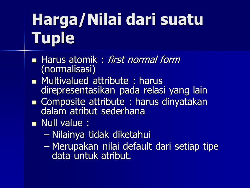 Harga/Nilai dari suatu Tuple Harus atomik : first normal form (normalisasi) Harus atomik : first normal form (normalisasi) Multivalued attribute : harus direpresentasikan pada relasi yang lain Multivalued attribute : harus direpresentasikan pada relasi yang lain Composite attribute : harus dinyatakan dalam atribut sederhana Composite attribute : harus dinyatakan dalam atribut sederhana Null value : Null value : –Nilainya tidak diketahui –Merupakan nilai default dari setiap tipe data untuk atribut.
