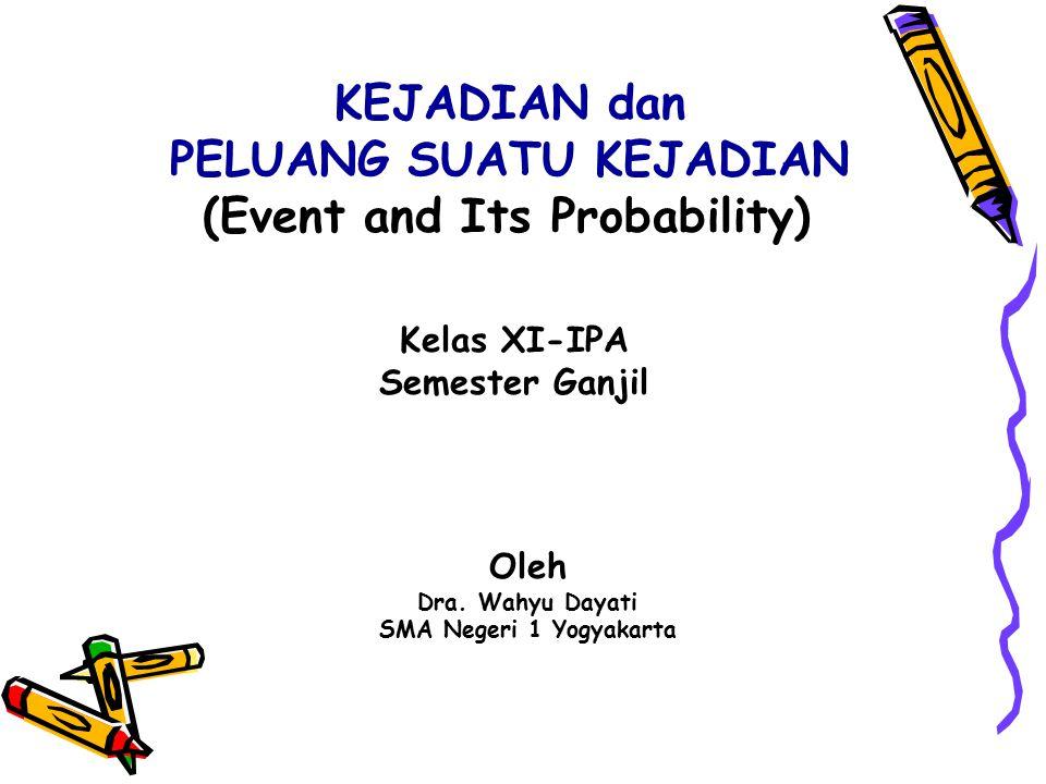 KEJADIAN dan PELUANG SUATU KEJADIAN (Event and Its Probability) Kelas XI-IPA Semester Ganjil Oleh Dra. Wahyu Dayati SMA Negeri 1 Yogyakarta