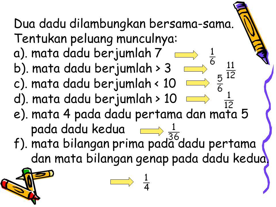 Dua dadu dilambungkan bersama-sama. Tentukan peluang munculnya: a). mata dadu berjumlah 7 b). mata dadu berjumlah > 3 c). mata dadu berjumlah < 10 d).