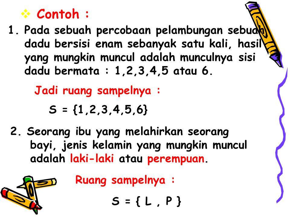  Contoh : S = {1,2,3,4,5,6} 1. Pada sebuah percobaan pelambungan sebuah dadu bersisi enam sebanyak satu kali, hasil yang mungkin muncul adalah muncul