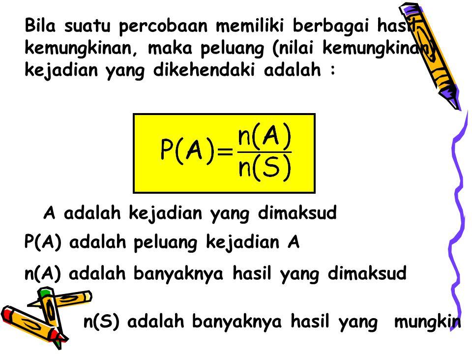 Bila suatu percobaan memiliki berbagai hasil kemungkinan, maka peluang (nilai kemungkinan) kejadian yang dikehendaki adalah : A adalah kejadian yang d
