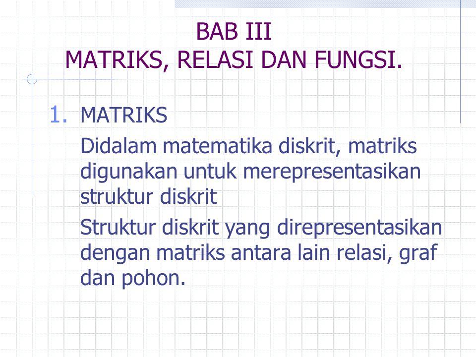 BAB III MATRIKS, RELASI DAN FUNGSI. 1. MATRIKS Didalam matematika diskrit, matriks digunakan untuk merepresentasikan struktur diskrit Struktur diskrit