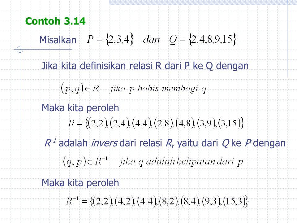 Contoh 3.14 Misalkan Jika kita definisikan relasi R dari P ke Q dengan Maka kita peroleh R -1 adalah invers dari relasi R, yaitu dari Q ke P dengan Ma
