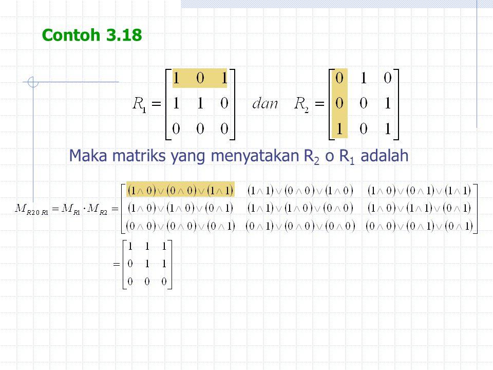 Contoh 3.18 Maka matriks yang menyatakan R 2 o R 1 adalah