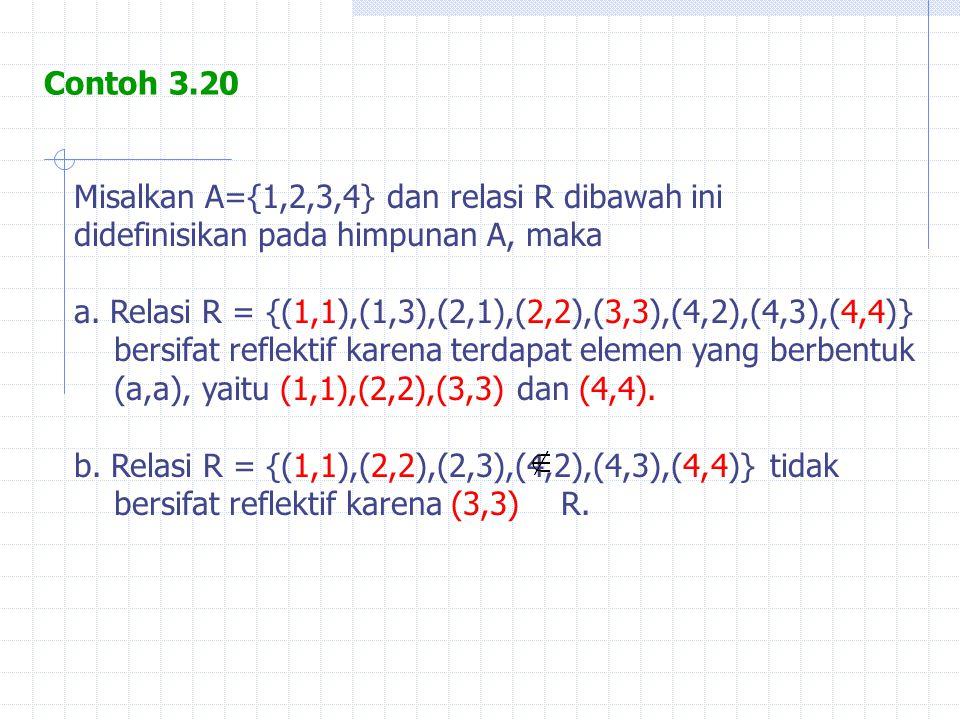 Misalkan A={1,2,3,4} dan relasi R dibawah ini didefinisikan pada himpunan A, maka a. Relasi R = {(1,1),(1,3),(2,1),(2,2),(3,3),(4,2),(4,3),(4,4)} bers